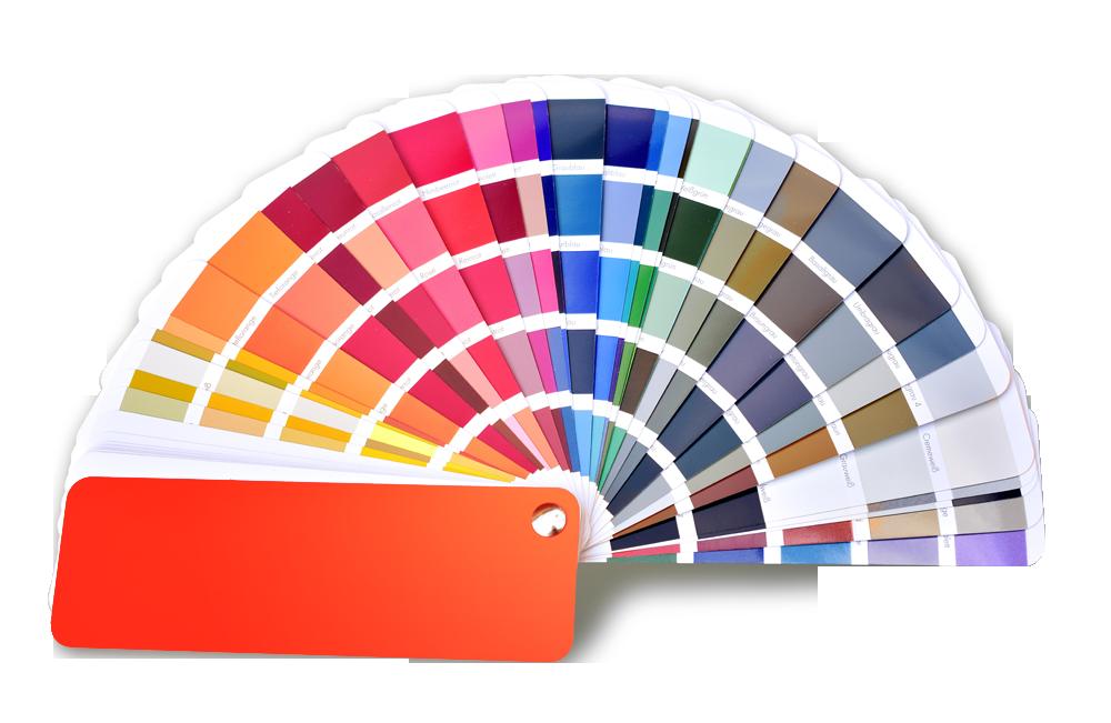 Eine Farbpalette zeigt verschiedene Farben, die durch die QIB zertifizierte Lackiertechnik erzeugt werden können!